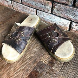 DR MARTENS RHEA Genuine Leather Slides Sandals ~ 9